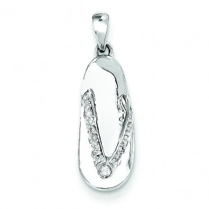 Completed Diamond Sandal Pendant in 14k White Gold