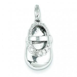 Diamond Baby Girl Shoe Pendant in 14k White Gold