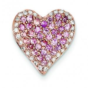 Diamond Pink Sapphire Vintage Heart Pendant in 14k Rose Gold