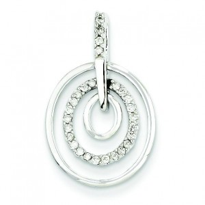 Triple Circle Diamond Pendant in 14k White Gold