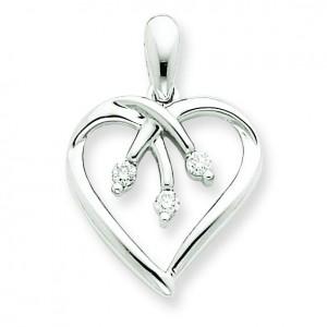 Three Stone Diamond Heart Pendant in 14k Yellow Gold