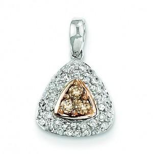 Champagne White Diamond Pendant in 14k White Gold