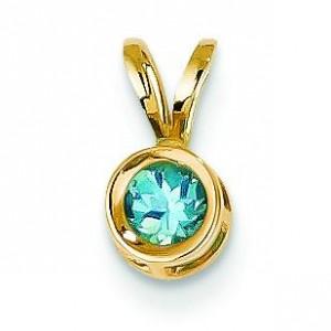 Blue Topaz Bezel Pendant in 14k Yellow Gold