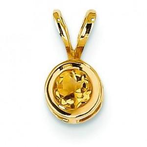 Citrine Bezel Pendant in 14k Yellow Gold