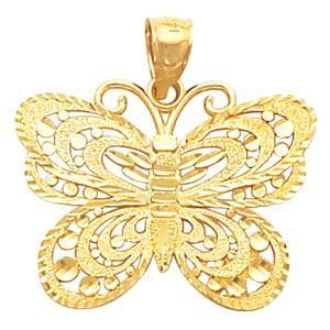 Butterfly Chain Pendant Slide in 14k Yellow Gold