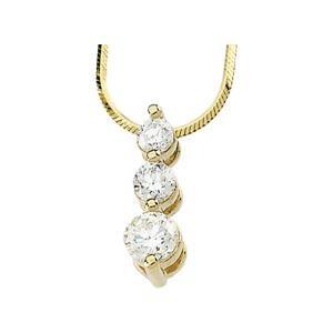 Three Stone Pendant Snake Chain in 14k White Gold