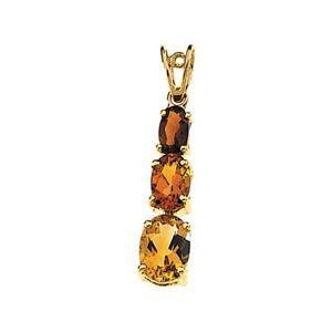 Madeira Citrine Pendant in 14k Yellow Gold