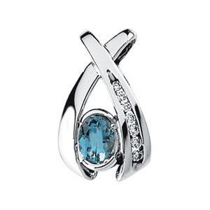 Aquamarine Diamond Pendant in 14k White Gold