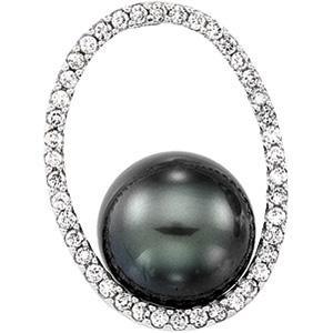 Tahitian Pearl Diamond Pendant in 14k White Gold