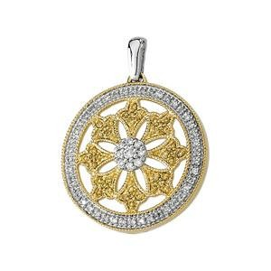 Plated Diamond Pendant in 14k Yellow Gold