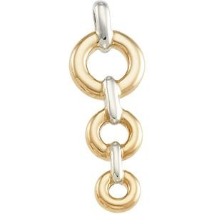 Vertical Fashion Pendant in 14k Two-tone Gold