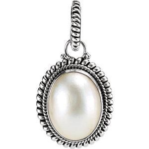 Cultured Pearl Pendant in Sterling Silver