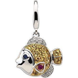 Sapphire Diamond Charm in 14k White Gold