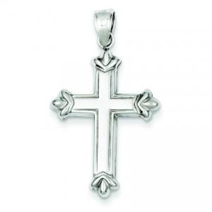 Rhodium Plated Fleur De Lis Cross in Sterling Silver