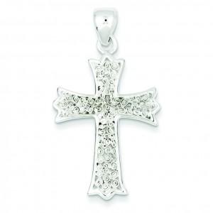 Polished Filigree Cross Pendant in Sterling Silver