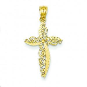 Scroll Design Passion Cross in 14k Yellow Gold