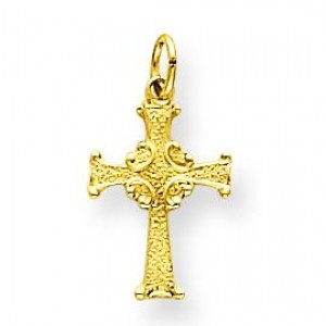 Solid Celtic Cross in 14k Yellow Gold