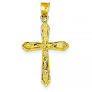 Budded Crucifix in 14k Yellow Gold