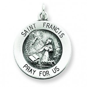 Antiqued St Francis Medal in Sterling Silver