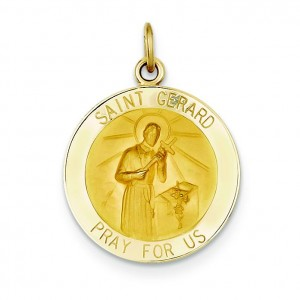 St Gerard Medal in 14k Yellow Gold