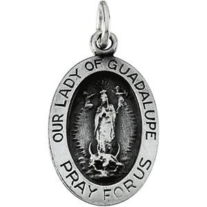 Lady Of Guadalupe Pendant 18 Inch Chain in Sterling Silver
