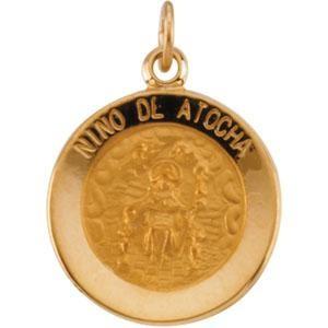 Nino De Atocha Medal in 14k Yellow Gold