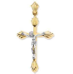 Budded Crucifix in 14k White Gold