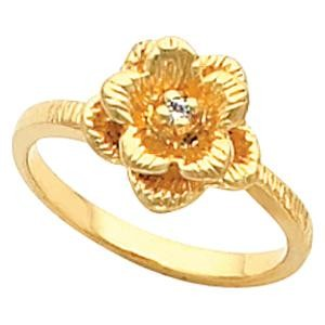 Rose Flower Ring in 10k White Gold