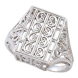 C Scroll Filigree Vintage Ring in 14k Yellow Gold