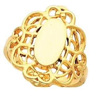 Filigree Signet Ring in 14k Yellow Gold