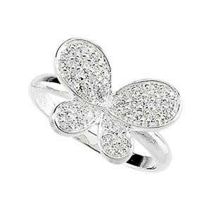CZ Butterfly Ring in Sterling Silver