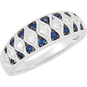 Genuine Blue Sapphire Diamond Ring in 14k White Gold (0.25 Ct. tw.) (0.25 Ct. tw.)