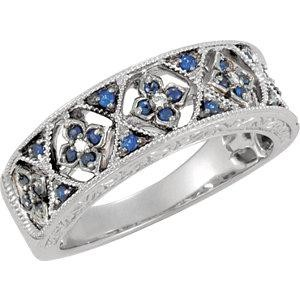Genuine Blue Sapphire Diamond Ring in 14k White Gold (0.04 Ct. tw.) (0.04 Ct. tw.)