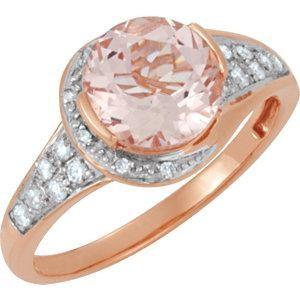 Genuine Morganite Diamond Ring in 14k Rose Gold