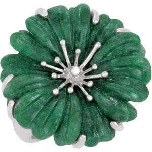 Russian Jadeite Diamond Ring in Sterling Silver