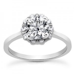 Plain Shank Diamond Engagement Ring in 14K Yellow Gold