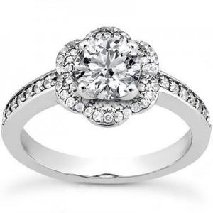 Stylish Round Engagement Wedding Ring in 14K Yellow  Gold