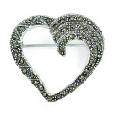Marcasite Heart Pin in Sterling Silver