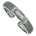 Diamond Cuff Bracelet in 14k Yellow Gold & Sterling Silver
