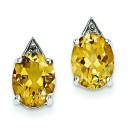 Rhodium Citrine Diamond Post Earrings in Sterling Silver