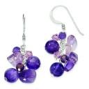 Amethyst Bead Lavender Crystal Quartz Earrings in Sterling Silver
