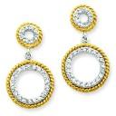 Vermeil CZ Circle Post Earrings in Sterling Silver