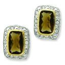 GoldCZ Omega Back Earrings in Sterling Silver