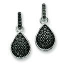 Black Diamond Teardrop Dangle Post Earrings in 14k White Gold