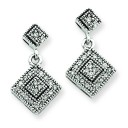 Quality Completed Diamond Vintage Earrings in 14k White Gold (0.25 Ct. tw.) (0.25 Ct. tw.)
