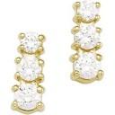Three Stone Earrings in 14k Yellow Gold
