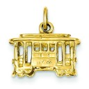 Cable Car Charm in 14k Yellow Gold