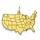 United States Map Charm in 14k Yellow Gold