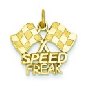 Racing Flags Speed Freak Charm in 14k Yellow Gold