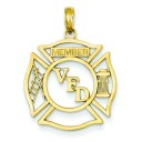 VFD Member Shield Pendant in 14k Yellow Gold